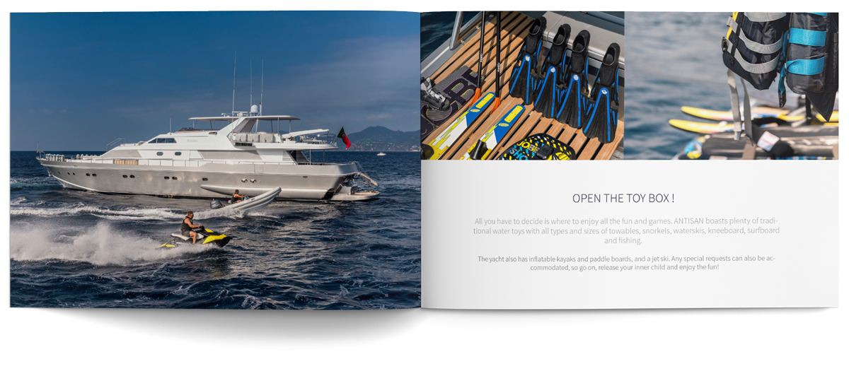 Antisan super yacht brochure and print design