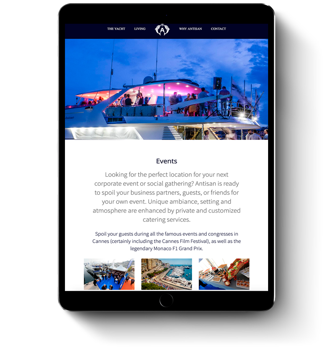 Antisan super yacht web design for mobile devices and tablets