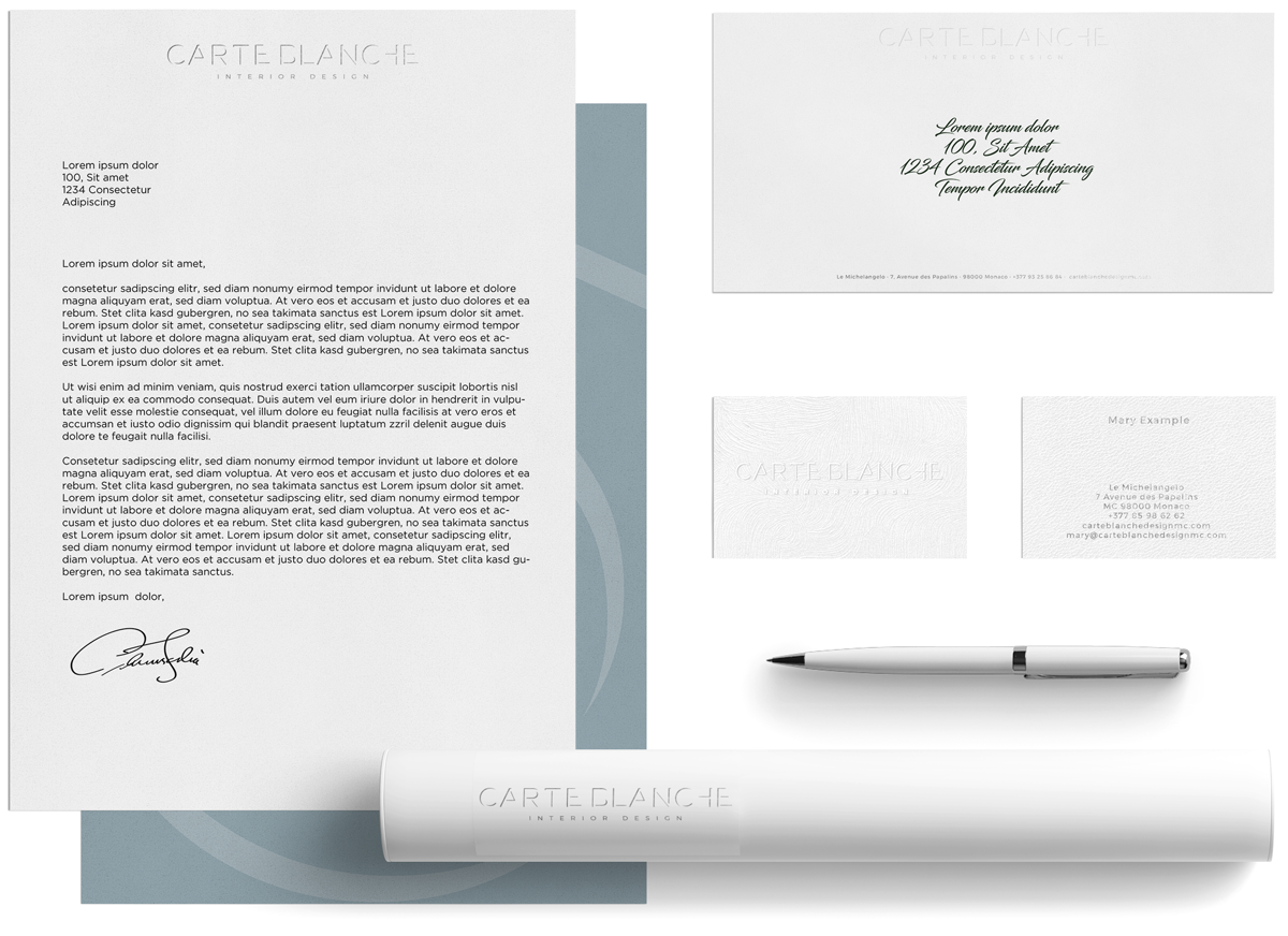 Carte Blanche Interior stationery and print design
