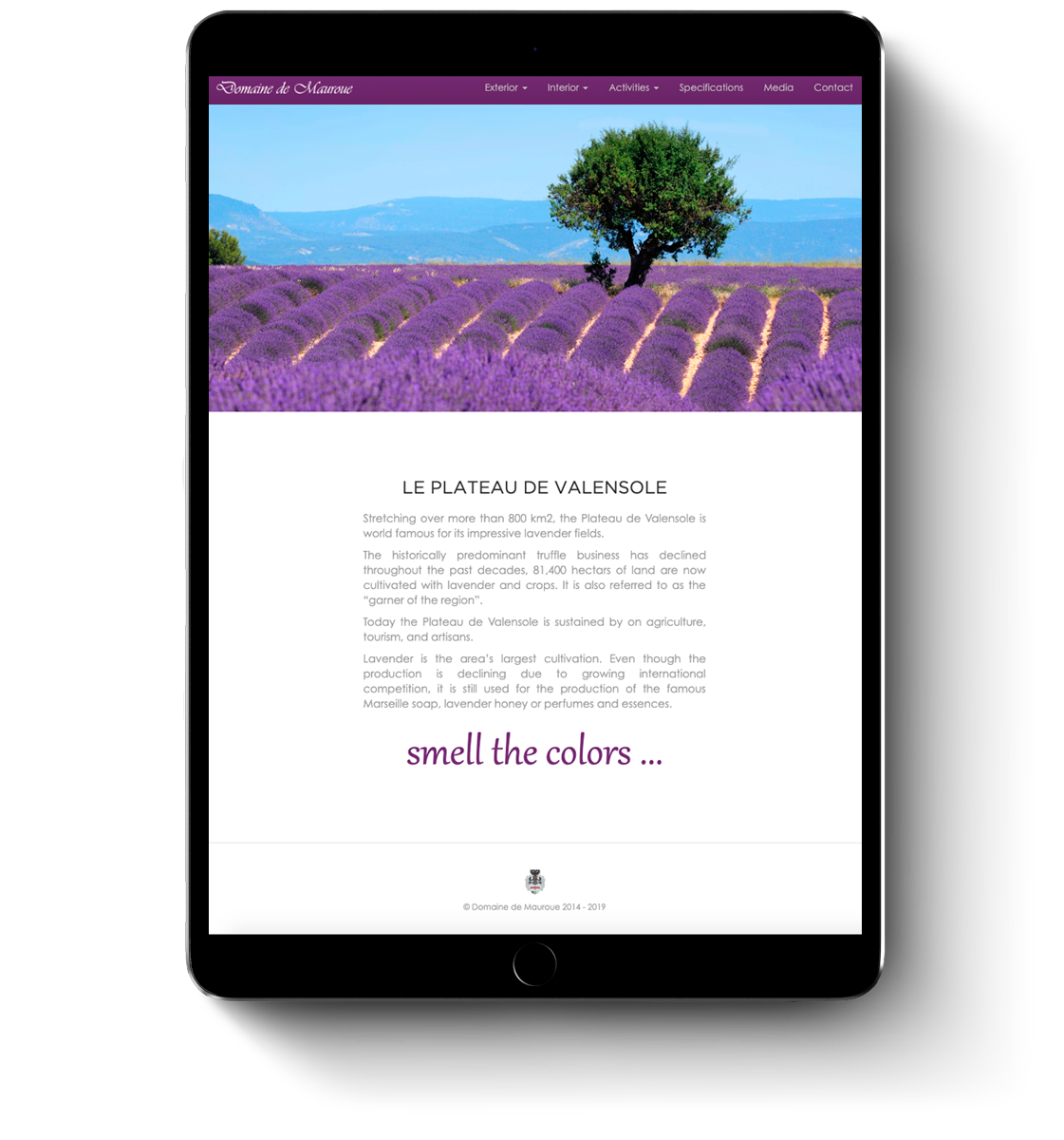 Domaine de Mauroue web design for mobile devices and tablets