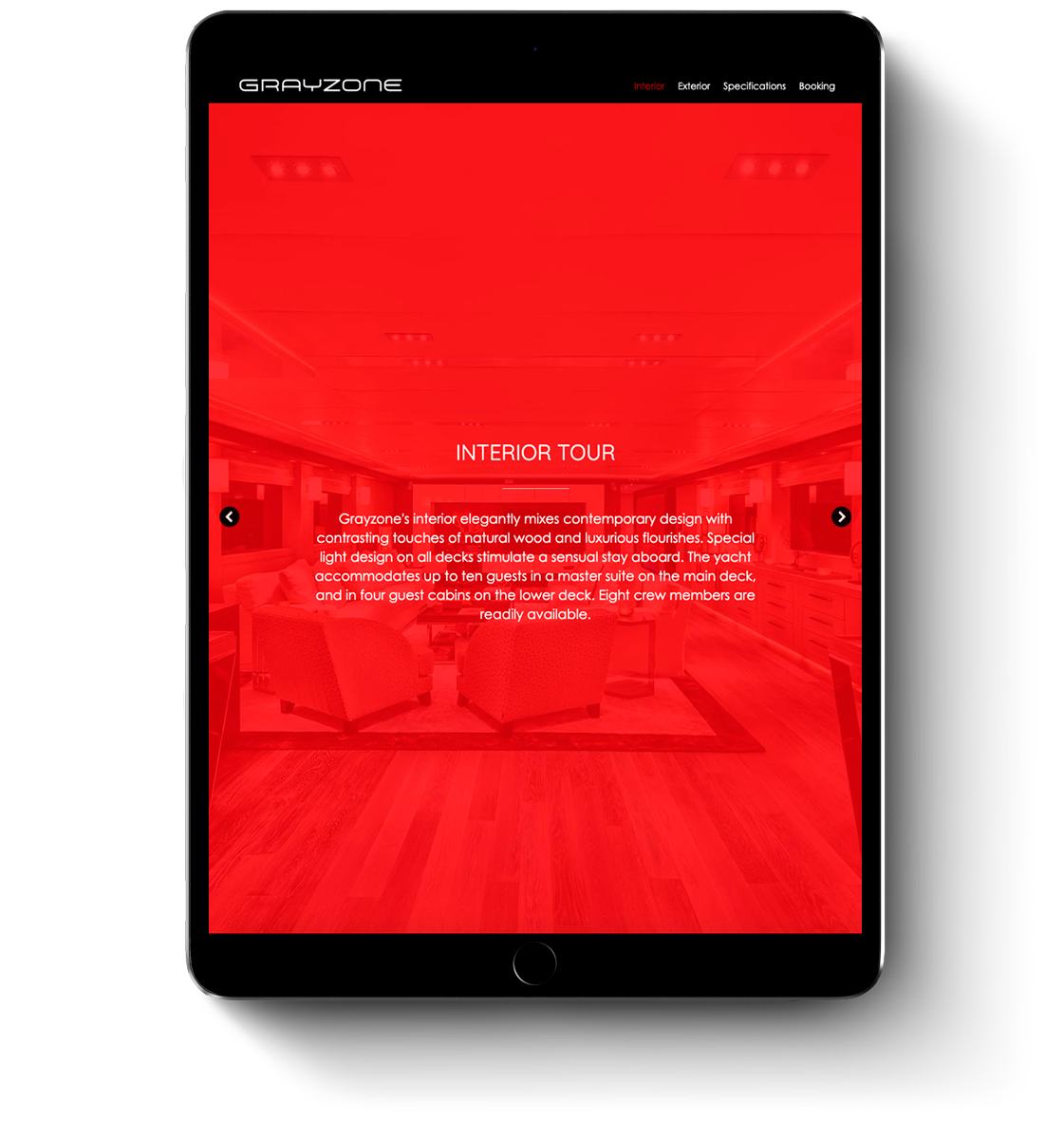 Grayzone super yacht web design for mobile devices and tablets