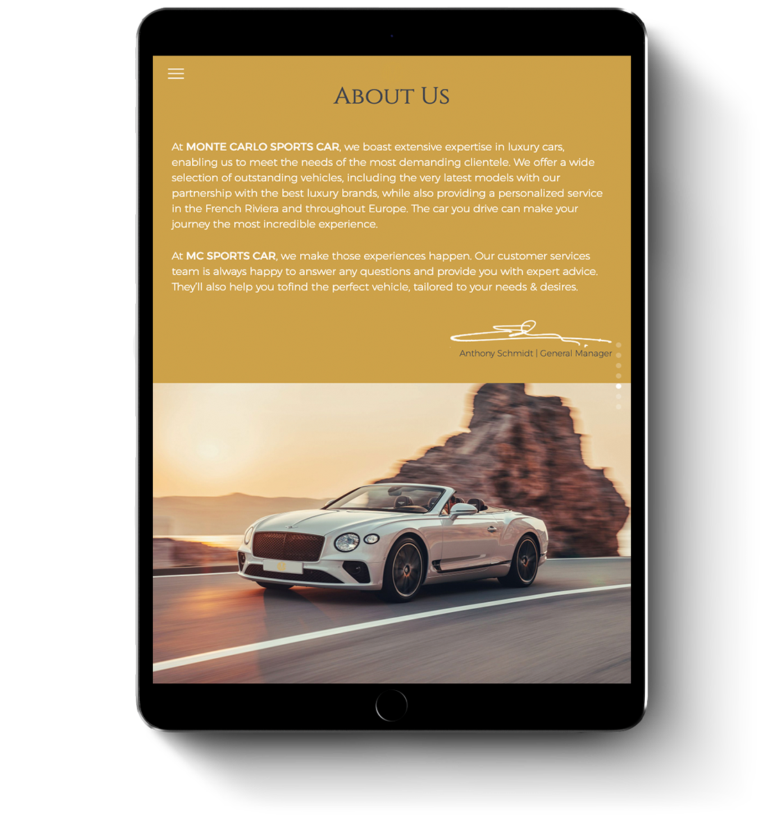 Monte Carlo Sports Car web design for mobile devices and tablets