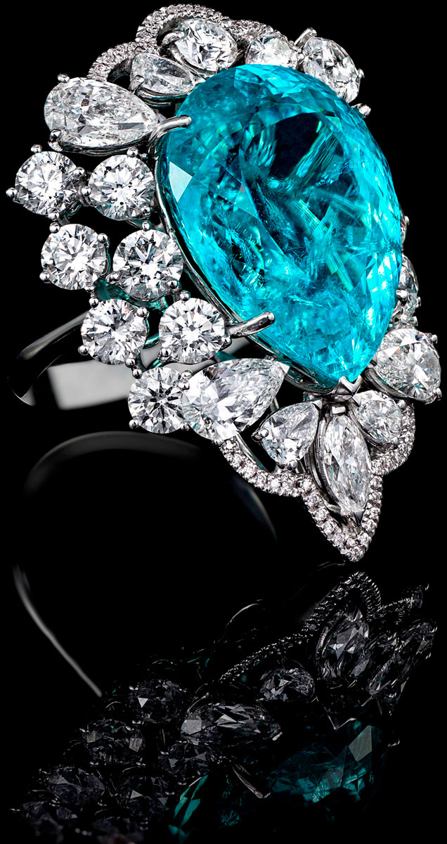 Paraiba and diamond ring by Orlov Jewelry
