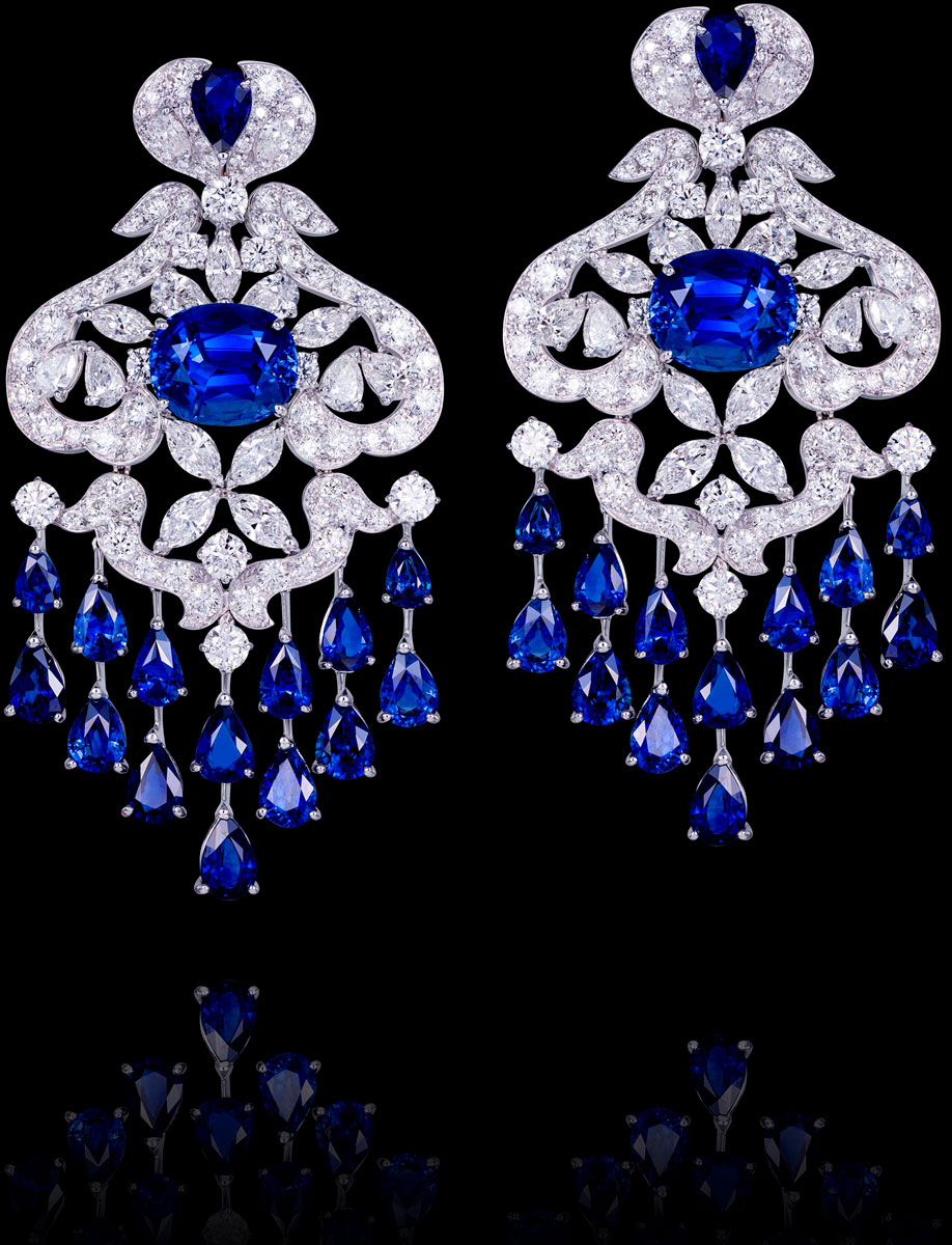 Blue sapphire and diamond earrings by Orlov Jewelry
