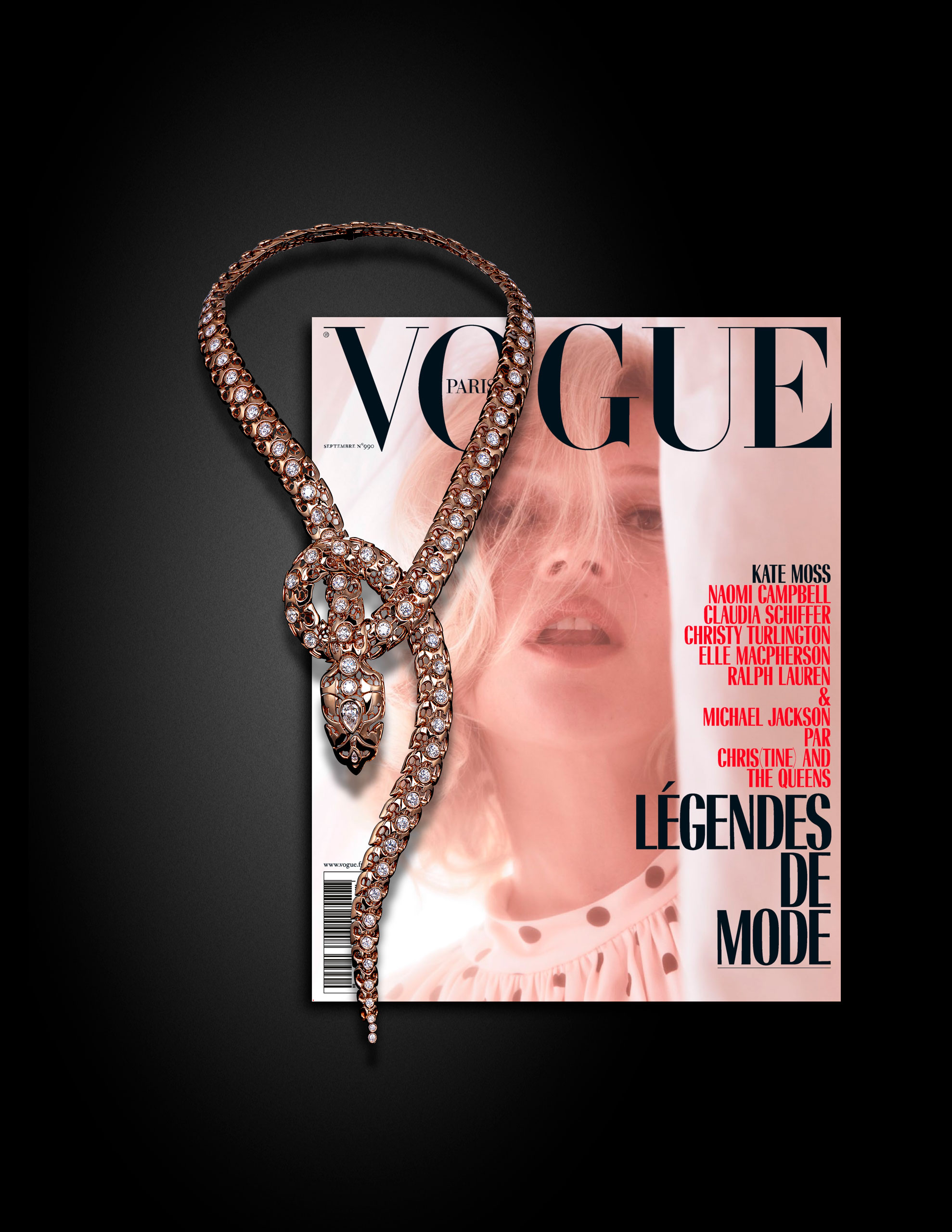 Photo of the pink gold serpentes necklace featured in the 2018 September edition N°990 of Vogue Paris
