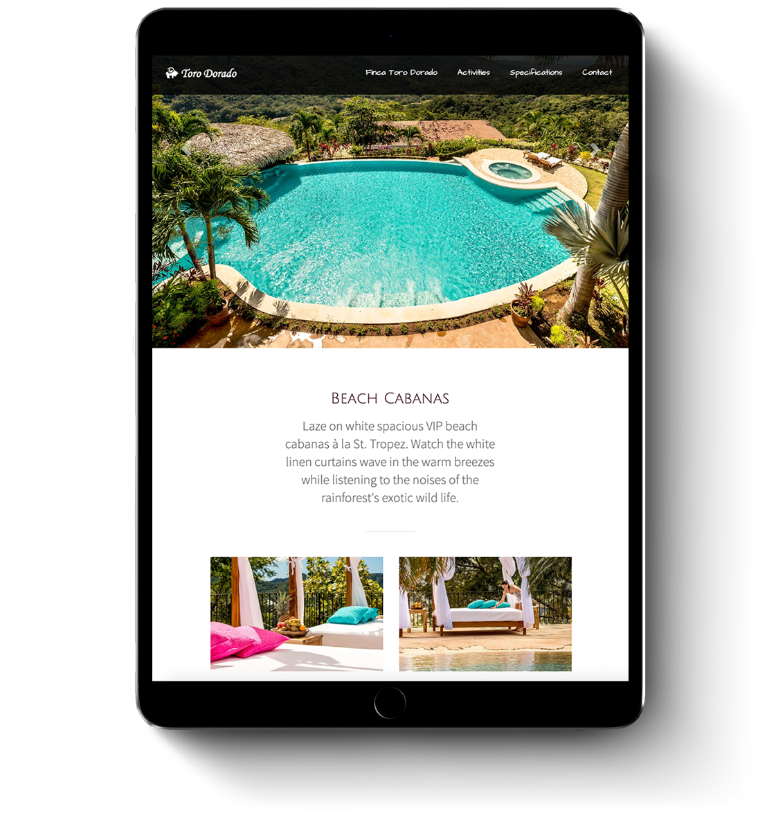 Toro dorado luxury property web design for mobile devices and tablets