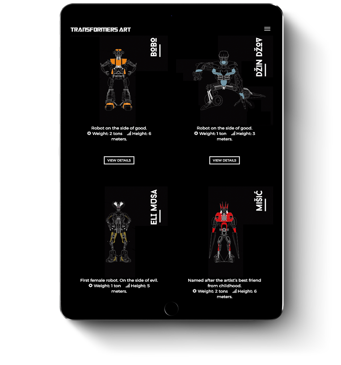 Web design for mobile devices and tablets of Transformers Art
